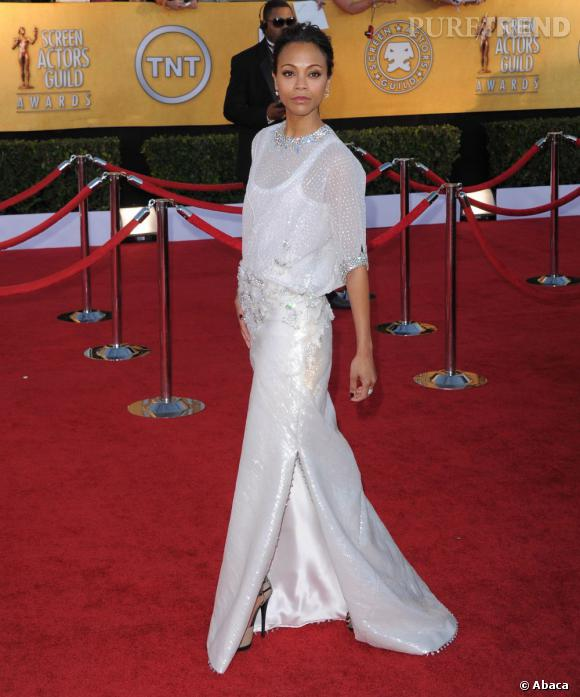 Zoe Saldana lors des Screen Actors Guild Awards 2012 à Los Angeles.