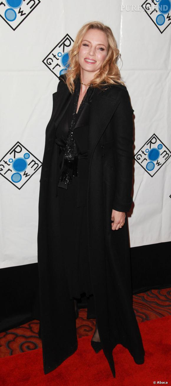 "Uma Thurman lors du gala de charité ""Room To Grow"" organisé à New York."