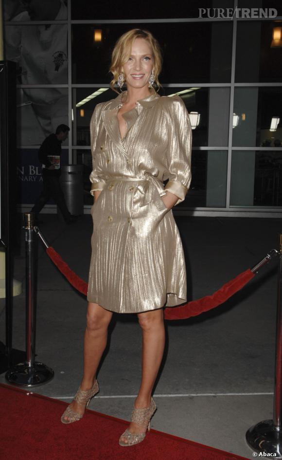 Le lamé :   tout ce qui brille semble plaire à Uma Thurman. Ici en Lanvin, elle ajoute à son allure lamé une juste dose de sex-appeal.