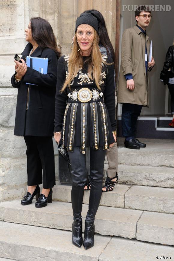 Anna Dello Russo avant le défilé Craven à Paris.