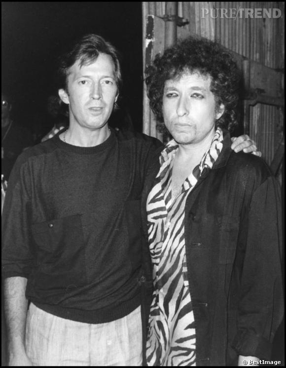 Bob Dylan, à la fin de sa période chrétienne, prend la pose aux côtés d'Eric Clapton.