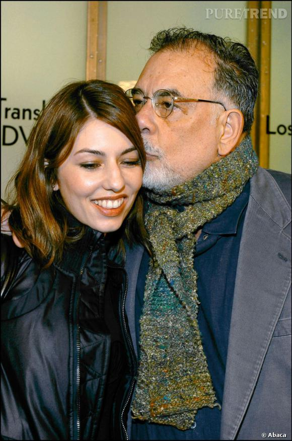 Sofia Coppola au côté de son père Francis Ford. Un tendre échange.