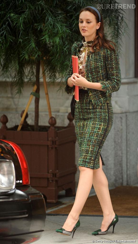 """Leighton Meester sur le tournage de """"Gossip Girl""""."""