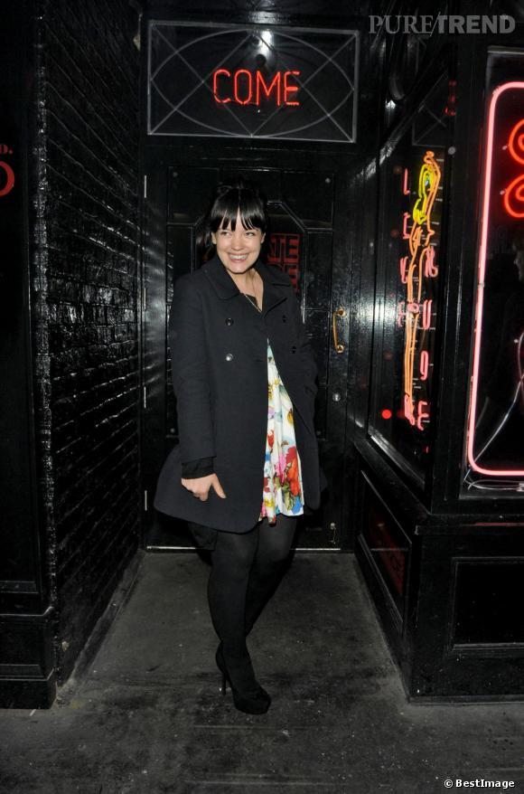 Lily Allen à la sortie du restaurant La Bodega Negra à Londres le 3 mai