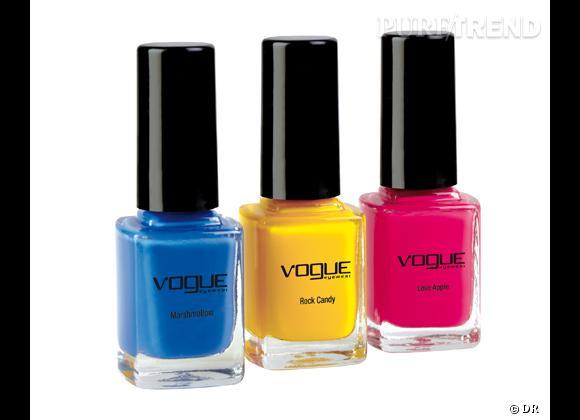 Les vernis associés à la collection Candy de Vogue Eyewear.