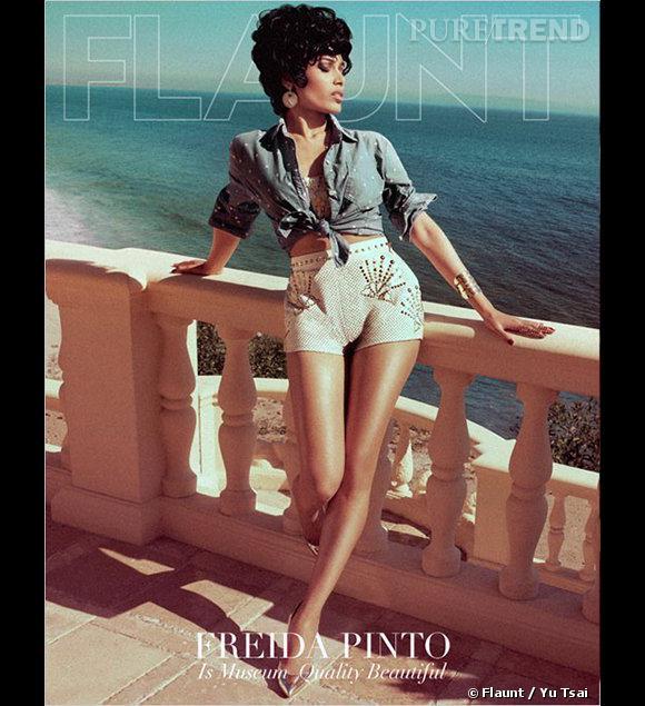 Freida Pinto en couverture du magazine Flaunt pour le numéro du mois de juillet 2012. Photographe : Yu Tsai.