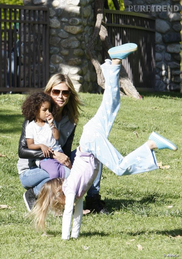 Qui ?  Encore la fille d'Heidi Klum qui fait des siennes !   Catégorie ?  Gymnastique au sol, c'est mieux pour frimer.