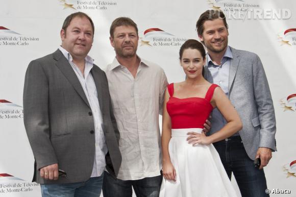 Emilia Clarke et une partie de l'équipe de la série lors du dernier Festival de télévision de Monte-Carlo.