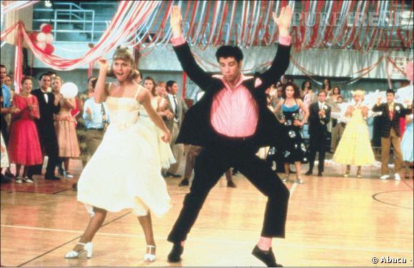 """John Travolta et Olivia Newton-John, dansent dans """"Grease""""."""