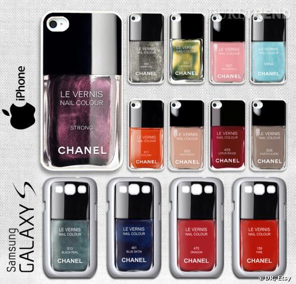 Les coques à l'image des vernis Chanel coûtent environ 15 € l'une sur Etsy.
