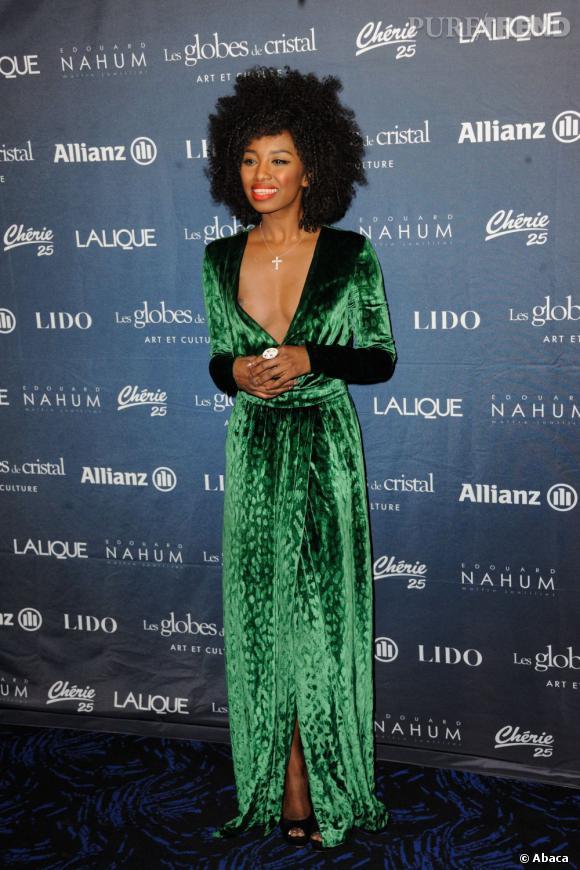 Inna Modja sort le grand jeu avec une robe Gucci aux Globes de Cristal 2012.