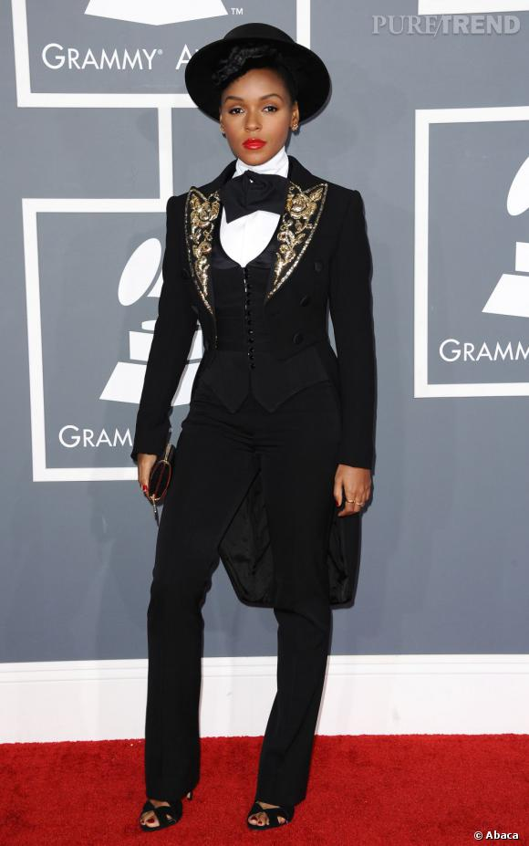 Les bonnes élèves    des Grammy Awards 2013   : Janelle Monáe reste fidèle à son style masculin rétro et elle a bien raison.