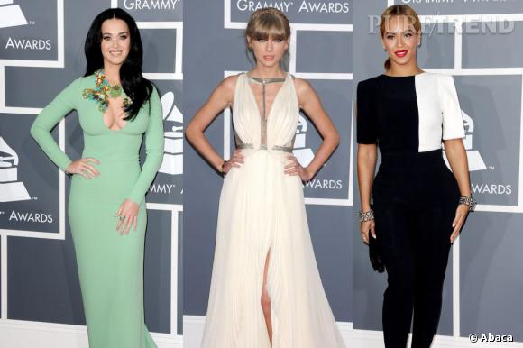 Katy Perry, Taylor Swift et Beyoncé Knowles aux Grammy Awards 2013 le dimanche 10 février au Staples Center de Los Angeles.