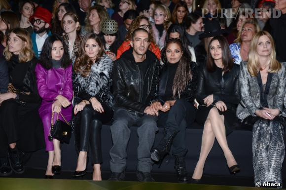 Olivia Palermo, Wassim Al Mana, Janet Jackson au défilé Roberto Cavalli Automne-Hiver 2013/2014 à Milan.