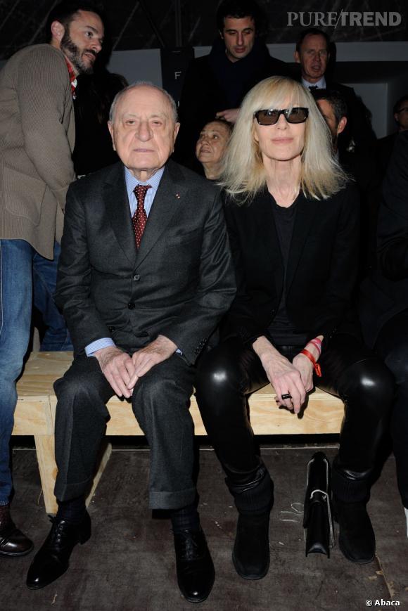 Pierre Bergé et Betty Catroux au premier rang du défilé Saint Laurent.