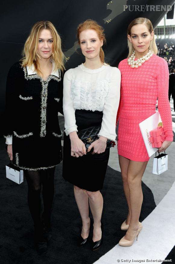 Marie-Josée Croze, Jessica Chastain et Leigh Lezark chez Chanel à Paris.