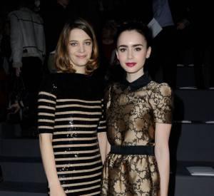 Céline Sallette et Lily Collins lors de la dernière Fashion Week de Paris.
