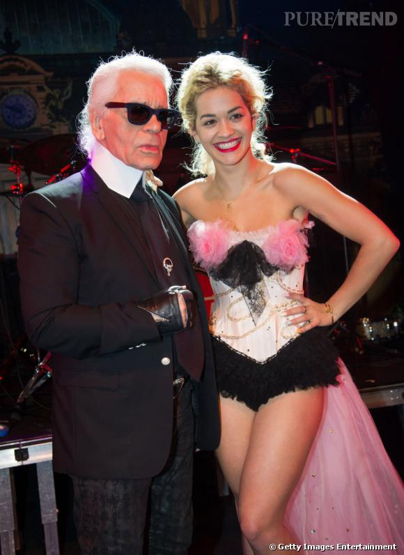 Karl Lagerfeld et Rita Ora au Bal de la Rose 2013 à Monaco.
