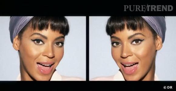 Beyoncé avec son liner de pin up dans le clip Countdown.