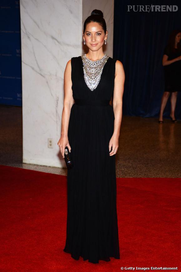 Olivia Munn en Marchesa au Dîner des Correspondants à la Maison Blanche à Washington.