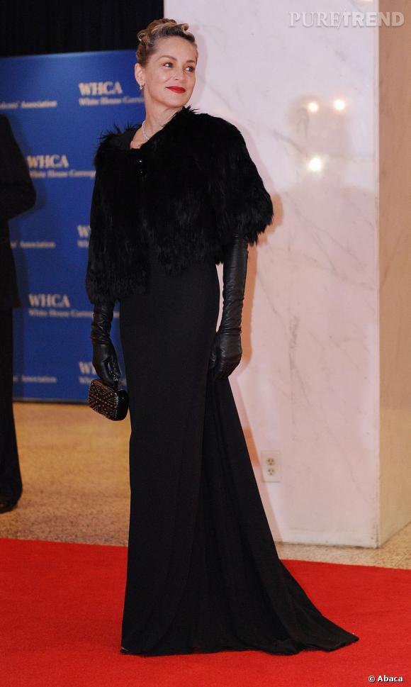 Sharon Stone au Dîner des Correspondants à la Maison Blanche à Washington.