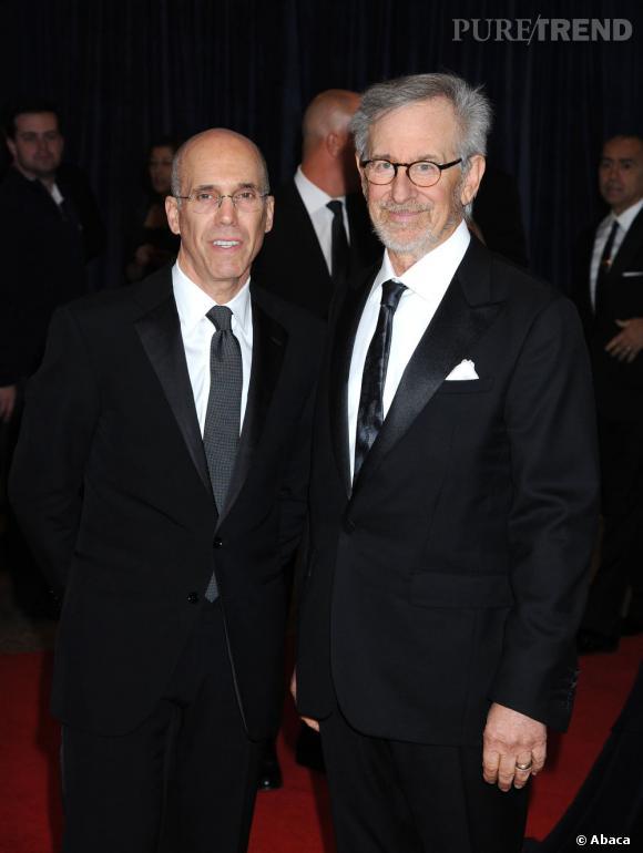 Jeffrey Katzenberg et Steven Spielberg au Dîner des Correspondants à la Maison Blanche à Washington.