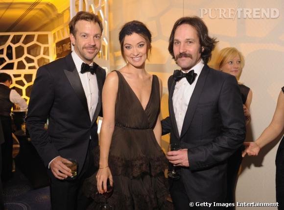 Jason Sudeikis, Olivia Wilde en Valentino et Paul Rudd au Dîner des Correspondants à la Maison Blanche à Washington.