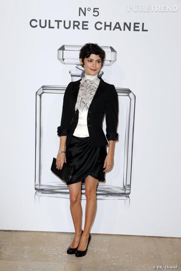 """Audrey Tautou lors de l'inauguration de l'exposition """"N°5 Culture Chanel""""."""