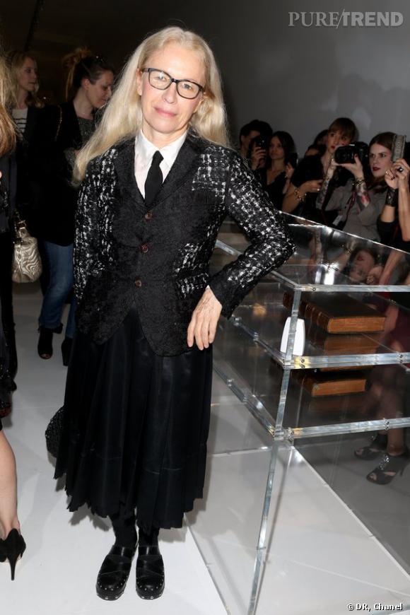 """Dominique Issermann lors de l'inauguration de l'exposition """"N°5 Culture Chanel""""."""