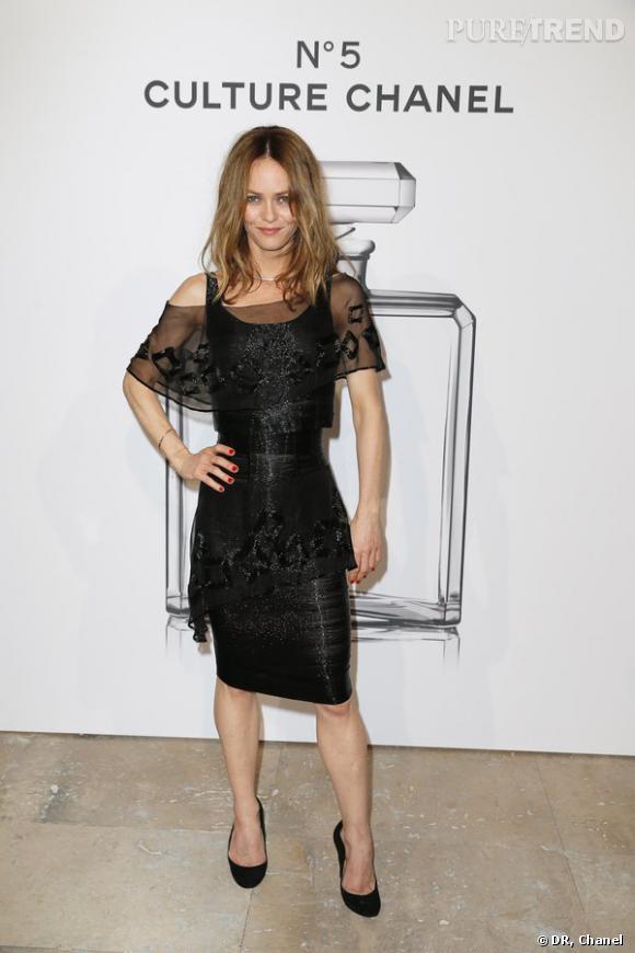 """Vanessa Paradis lors de l'inauguration de l'exposition """"N°5 Culture Chanel""""."""