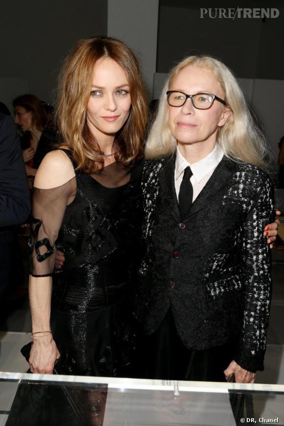 """Vanessa Paradis et Dominique Issermann lors de l'inauguration de l'exposition """"N°5 Culture Chanel""""."""