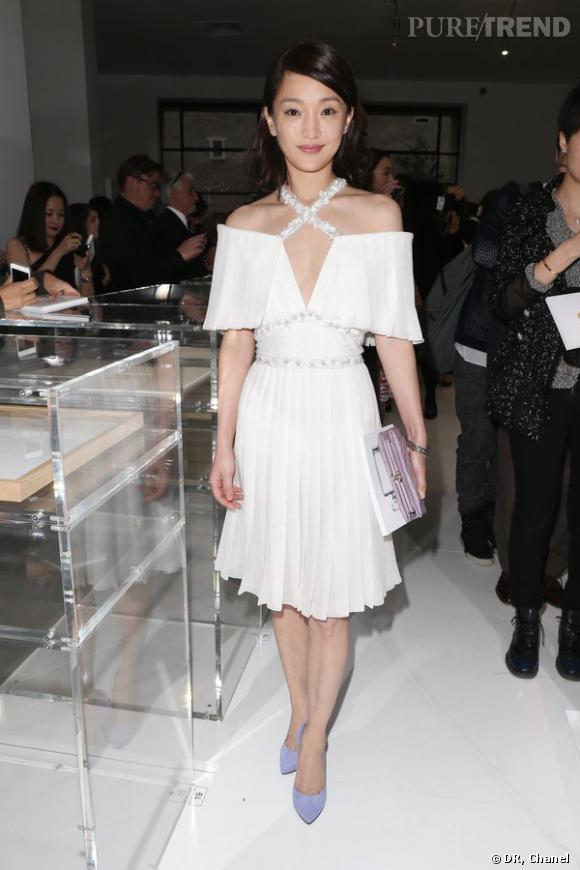 "Zhou Xun lors de l'inauguration de l'exposition ""N°5 Culture Chanel""."