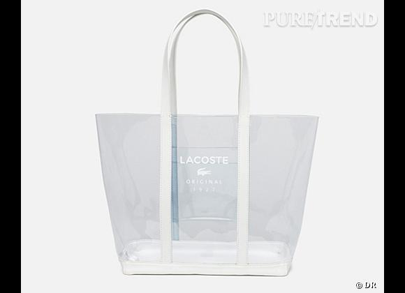 Des stars, aux podiums, à la rue : adoptez la tendance it-bag transparent    Cabas Lacoste, 95 €