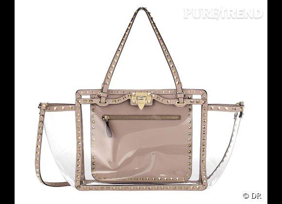 Des stars, aux podiums, à la rue : adoptez la tendance it-bag transparent    Cabas Valentino, 1650 €