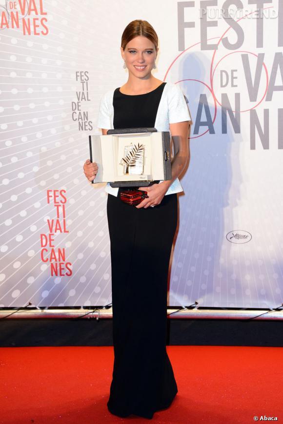 """Léa Seydoux lors de la cérémonie de clôture où le film """"La Vie d'Adèle"""" a été récompensé."""