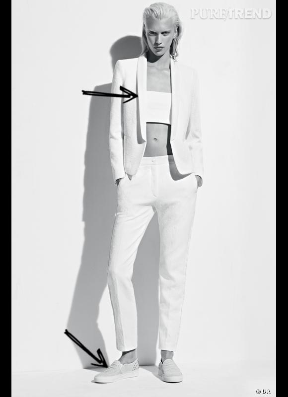 Comment porter la tendance sporty chic ce Printemps-Eté 2013 ?      Comme chez Sandro en portant simplement des tennis avec un costume.      Lookbook SS2013