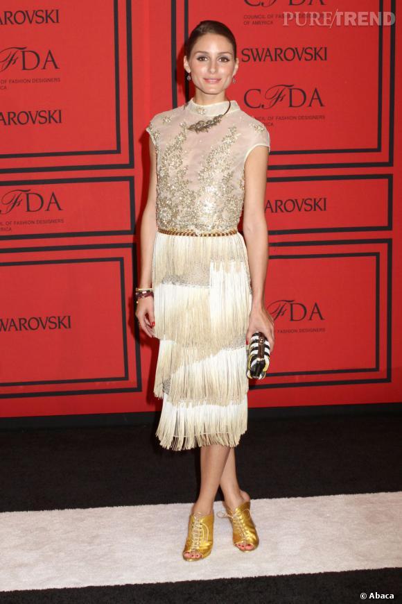 Olivia Palermo a marché sur le tapis rouge dans un style très flappers pour les CFDA Fashion Awards, le 3 juin 2013, à New York.