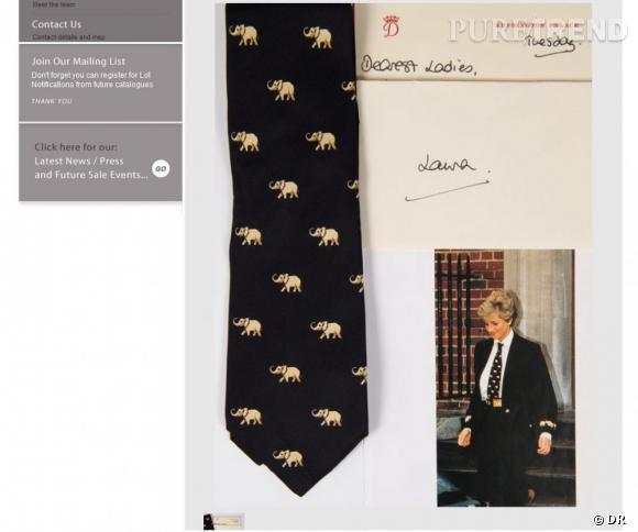 La cravate de Diana sera mise aux enchères le 18 juin prochain.