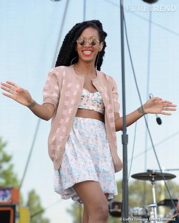Solange Knowles, jolie poupée pastel.