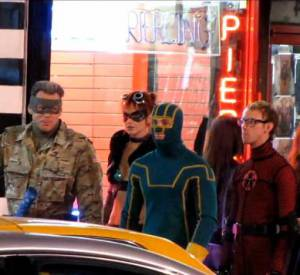 "Jim Carrey et Aaron Johnson sur le tournage de ""Kick-Ass 2"" à Toronto."