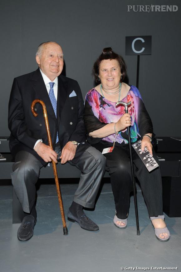 Angelo Zegna et Suzy Menkes chez Ermenegildo Zegna à Milan.