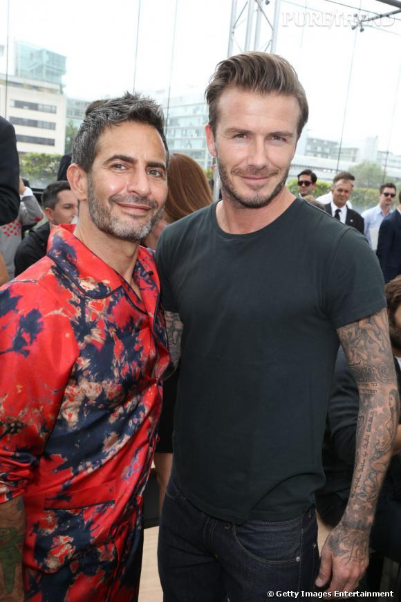 Marc Jacobs et David Beckham au défilé Louis Vuitton à Paris.