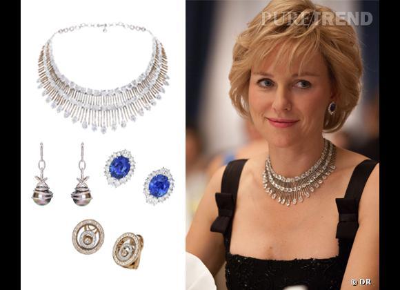 """Naomi Watts et ses bijoux Chopard dans le film """"Diana""""."""