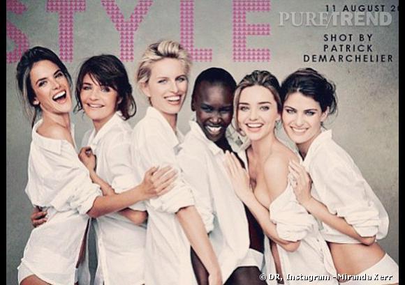 "Miranda Kerr, Alessandra Ambrosio, Helena Christensen, Karolina Kurkova, Alek Wek et Isabeli Fontana posent pour ce ""Spécial anniversaire"" ducalendrier Pirelli 2014."