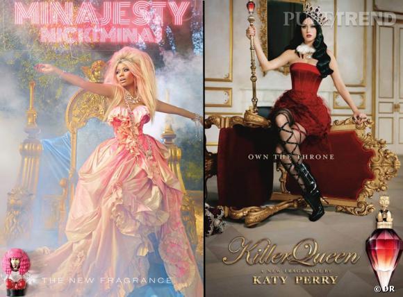 Les similitudes sont nombreuses entre les deux publicités des parfums de Nicki Minaj et Katy Perry.