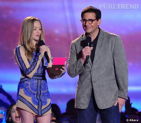 Steve Carell et Amanda Seyfried lors des MTV Movie Awards.