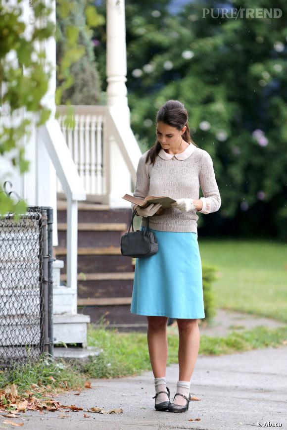 """Katie Holmes sur le tournage du film """"Miss Meadows""""."""