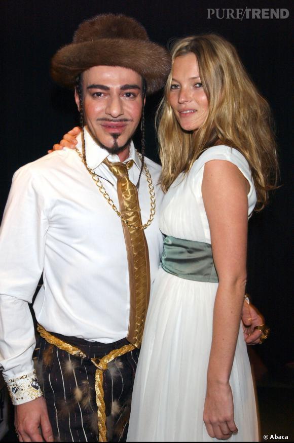 John Galliano et Kate Moss, son amie de toujours.