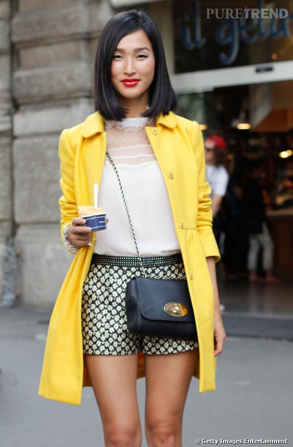 Street Style Fashion Week de Milan. La parfaite association pour donner une allure élégante à son manteau jaune poussin.