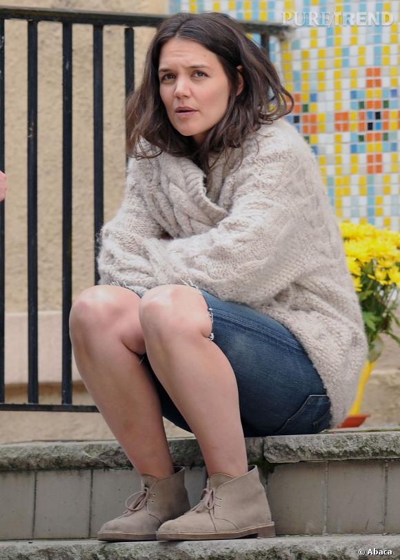Ancien garçon manqué, Katie Holmes a quelques fois des réminiscences de cette époque où elle se moquait bien de porter du fard !